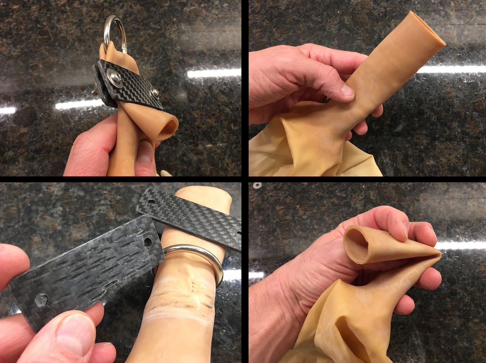 Clockwise from top right: (1) Balloon neck, (2) Neck being folded, (3) Serrated inner surface of carbon fiber plate, (4) Assembled harness with steel ring.