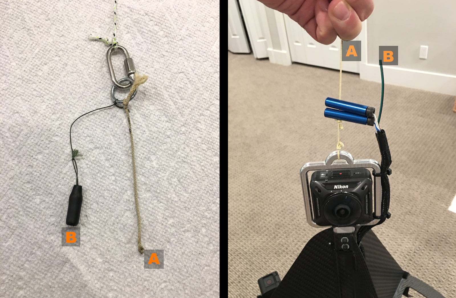 String A ties to the HAPP tether ring in the right frame. Cap B goes over a photoresistor which is not yet present at B in the right pane. Blue cylinders are the cutdown pyros.