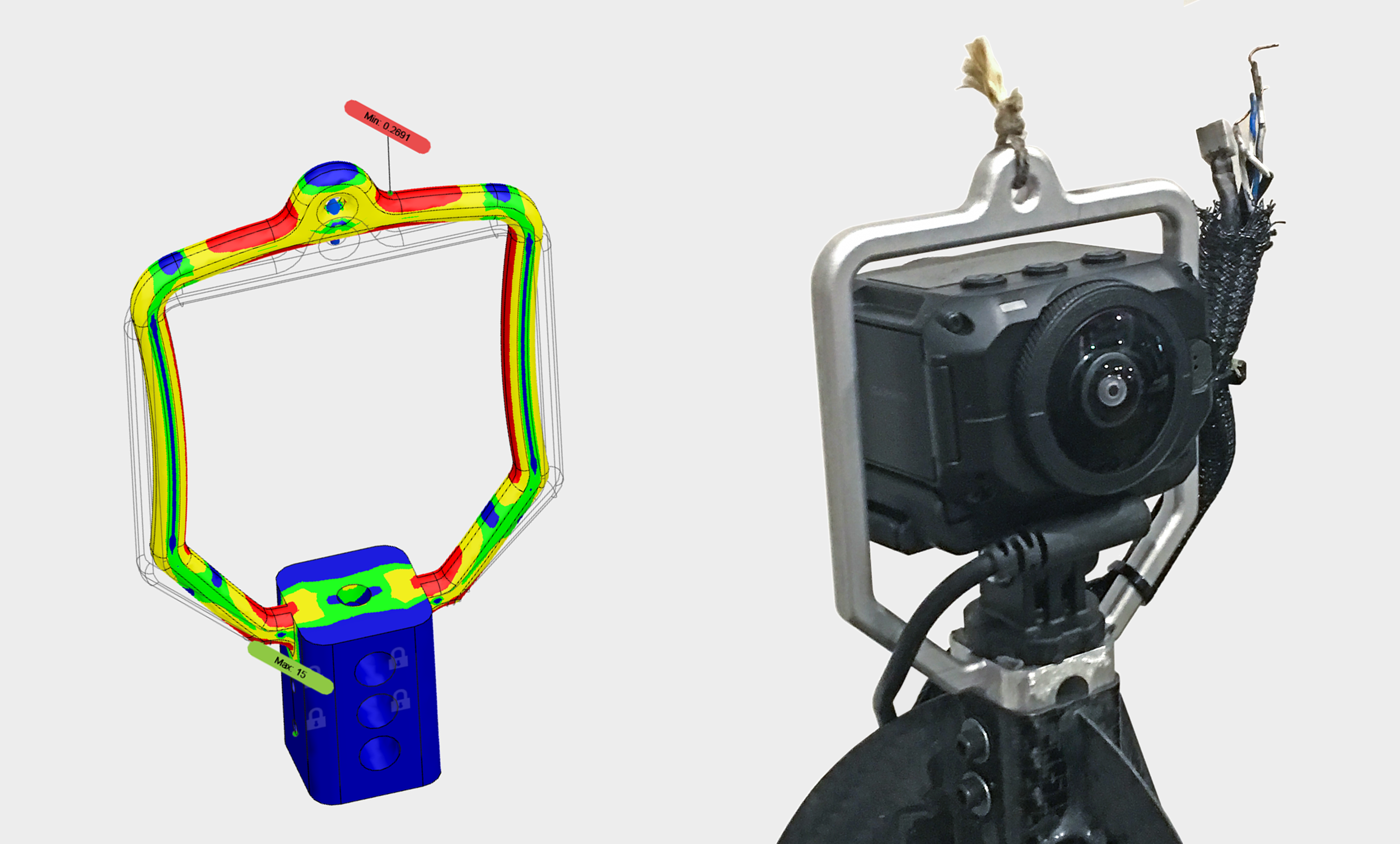 New design for balloon tether. Left: FEA analysis. Right: Photo with 360 camera in place after firing the cutdown pyros. Note the bit of Kevlar string remaining.