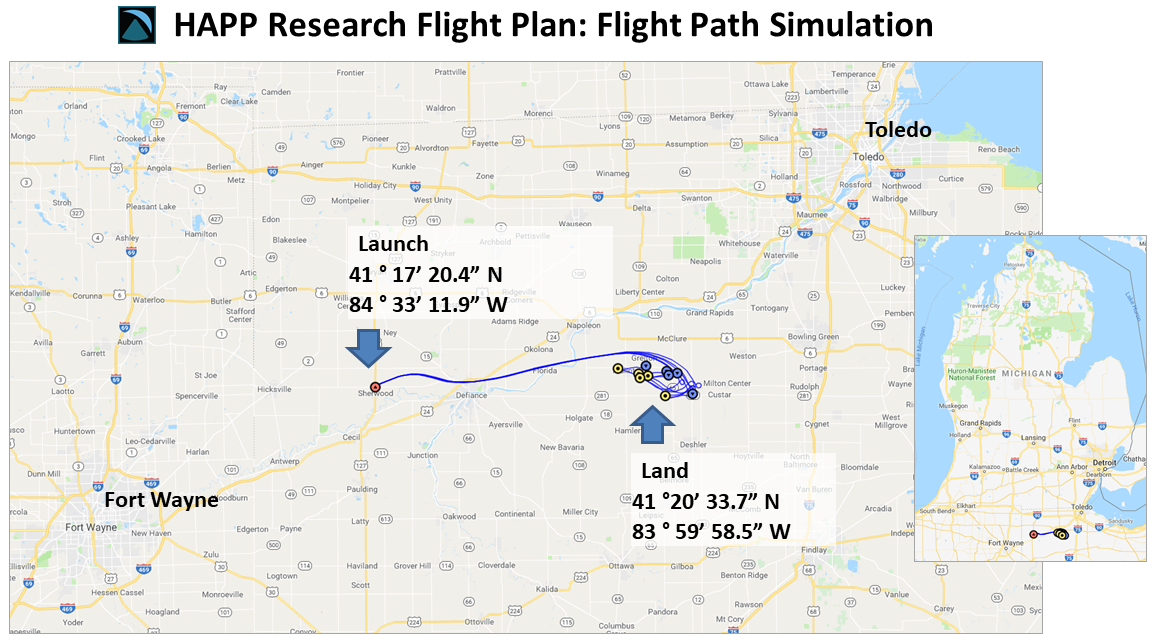 Example of flight path simulation submitted to the FAA. The multiple predicted paths are various runs in a Monte Carlo simulation.