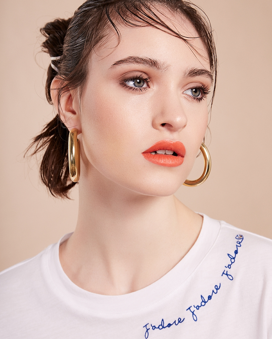 5. - Laura Lombardi earrings, £110, Found Bath; J'adore t-shirt, £19.99, H&M