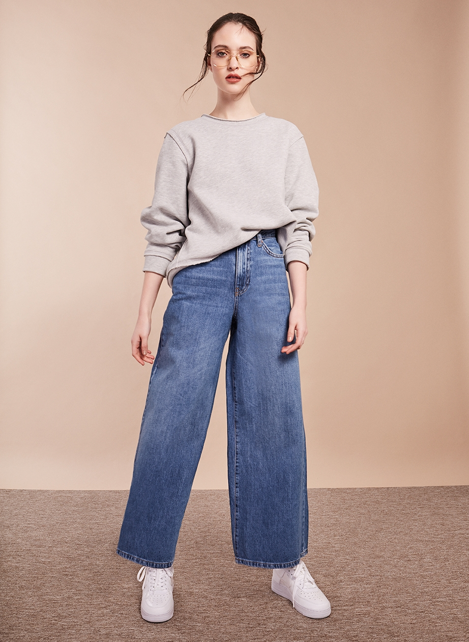 6. - Gold plated glasses, £405, Cutler and Gross; Selected Femme grey sweater, £45, Resident Store; Wide-leg jeans, £46, Topshop; Nike Air Force 1 trainers, £74.99, Office