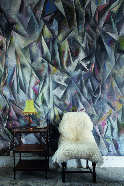 Guillermo Kuitca's striking wall art in the dining room