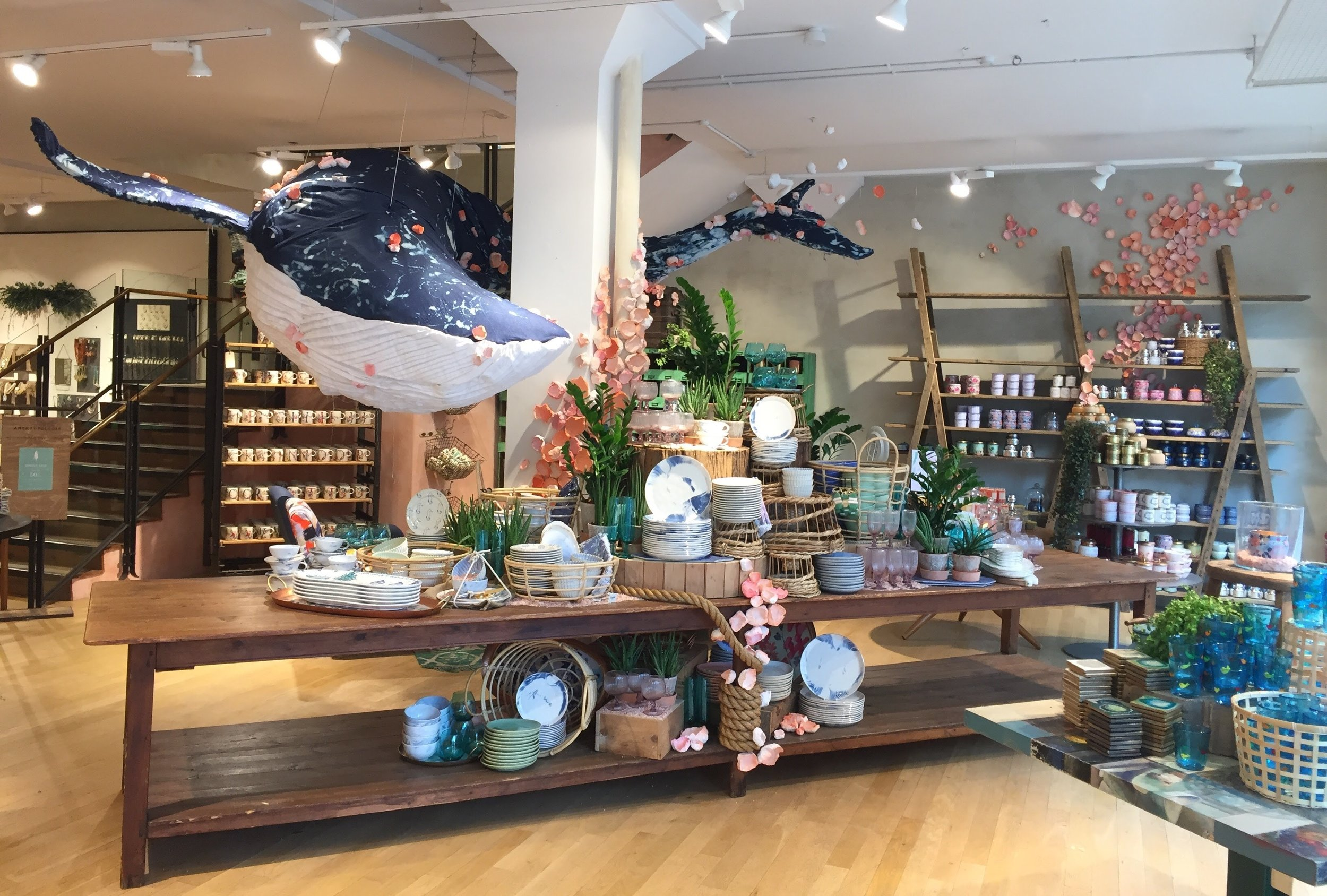 The five-metre long Denim Whale (above) made quite a splash at the Bath store