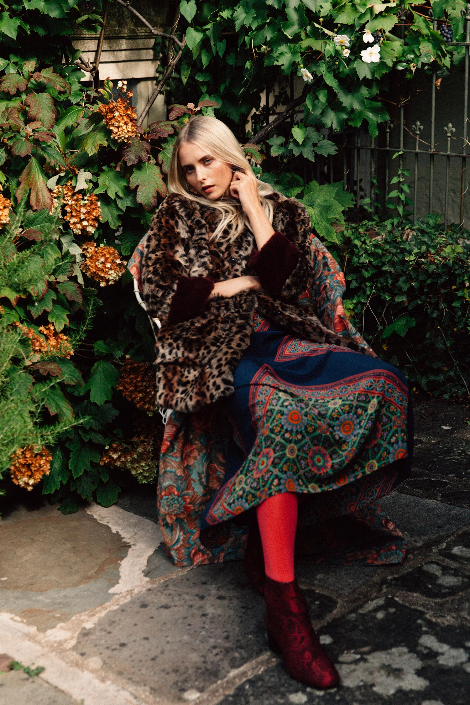 Leopard faux fur coat (as before), Oralie silk maxi dress, £188,  Anthropologie ; Gosford leather and suede embroidered ankle boots, £180,  DuoBoots ; 60 denier red opaque tights, £5,  Pretty Polly