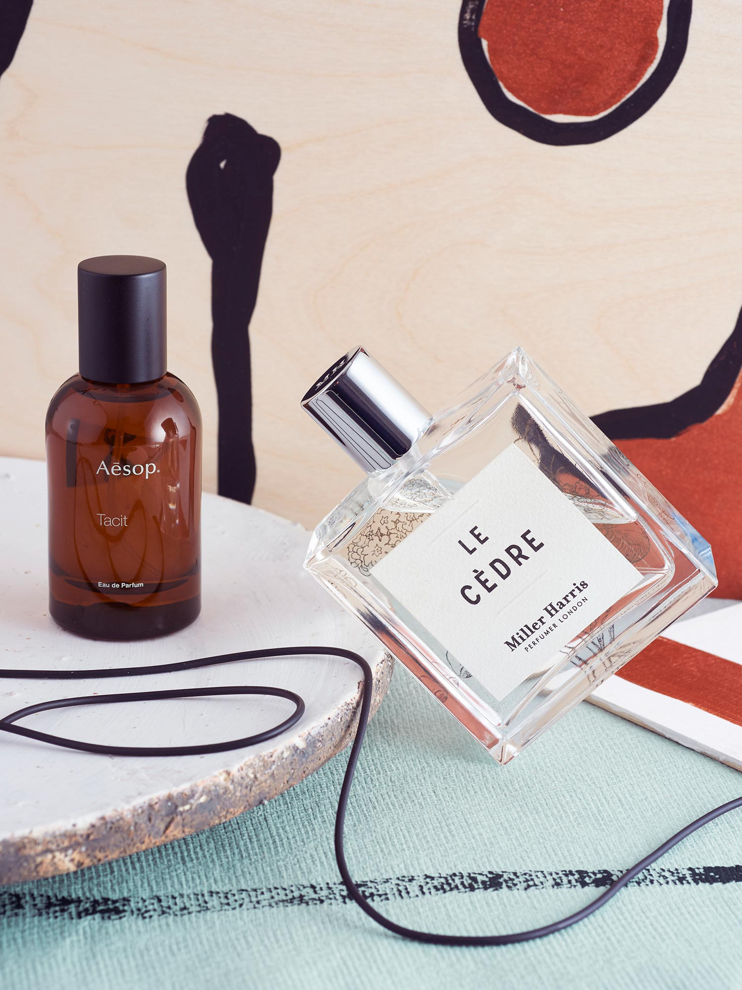 Tacit eau de parfum by  Aesop , 50ml, £77; Le Cèdre eau de parfum by Miller Harris from  Maze , 100ml, £165; Corinium serving platter from  Neptune , £19