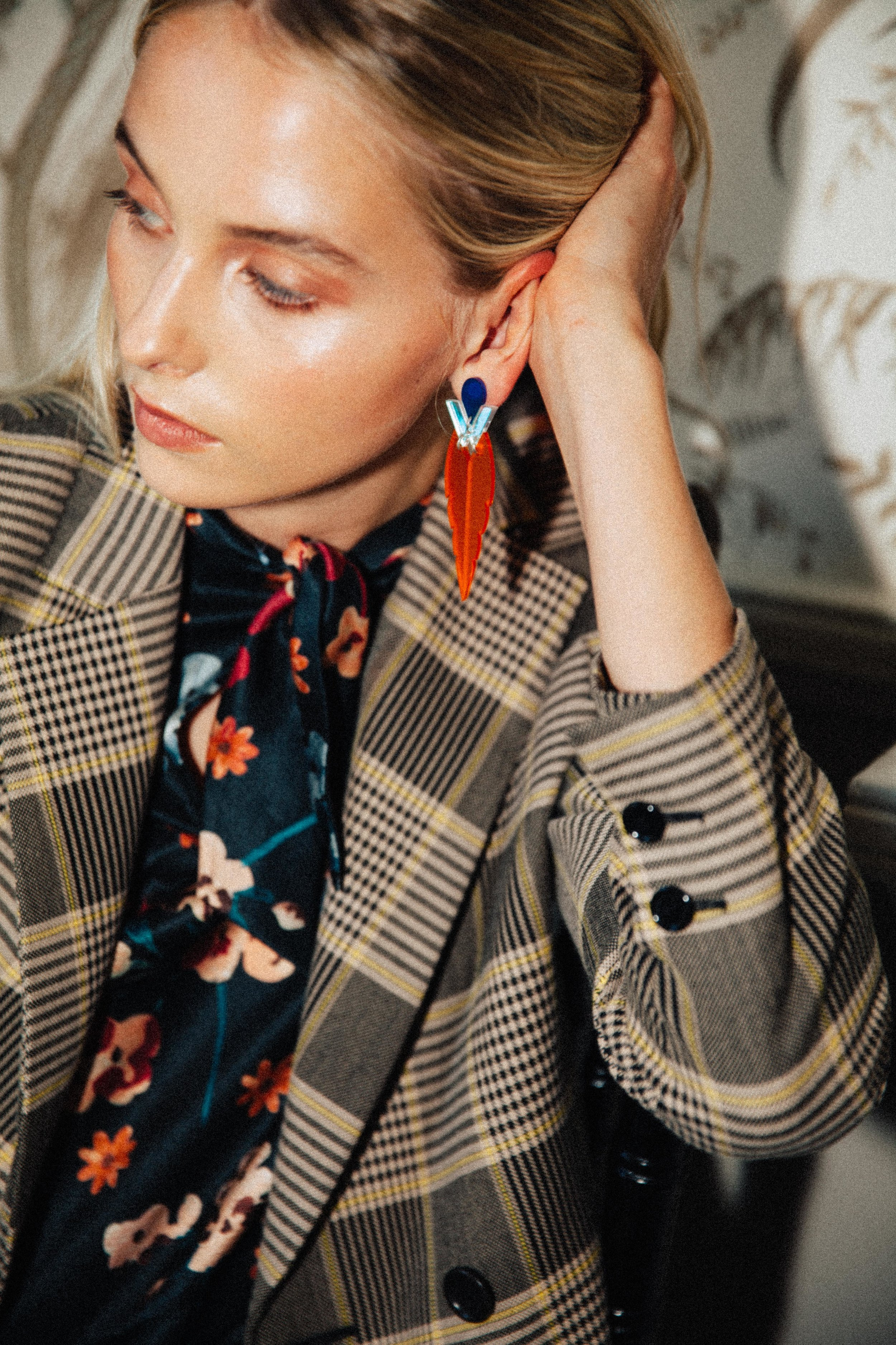 Checked blazer, £220,  Whistles ; floral print silk cotton dress, £295,  Toast ; Kingfisher earrings in mandarin, £45,  Toolally .