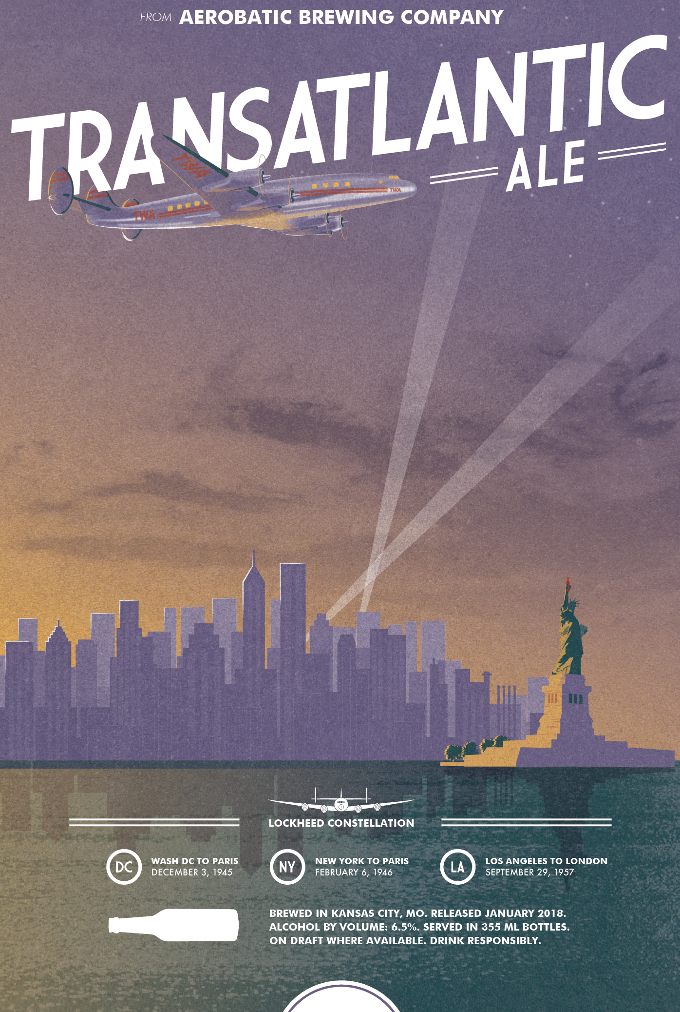 AEROBATIC BREWING COMPANY TRANSATLANTIC ALE - BRANd strategy, identity design, AND PACKAGING