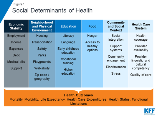Figure 1: Social Determinants of Health and Associated Outcomes, source  www.kff.org
