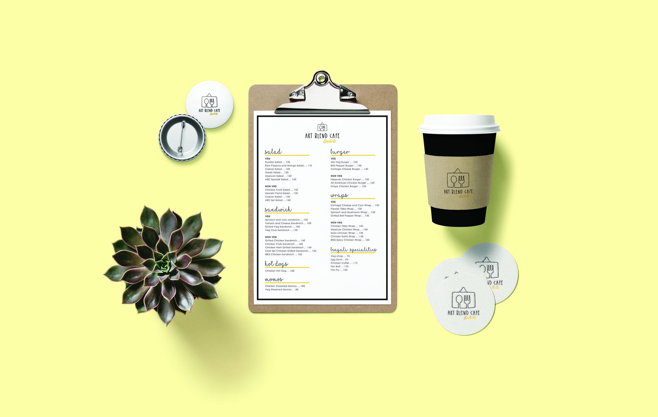 Art Blend Cafe Deliite branding