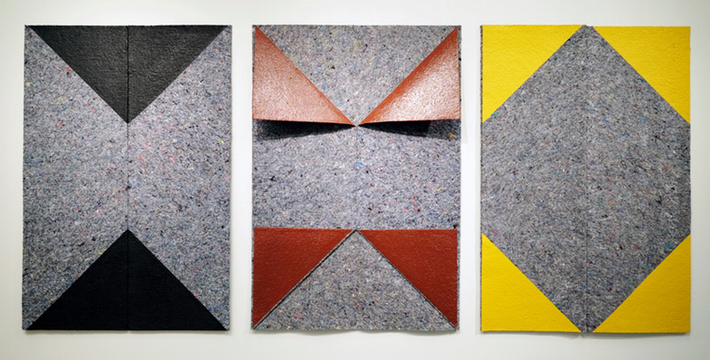 """From the series:  Secret Possibilities (First) , 2016 Acrylic paint on fabric pads. Variable Dimensions. Each of: 45"""" x 64"""" (114 x 162,5 cm each) Courtesy of Ana Mas Project"""