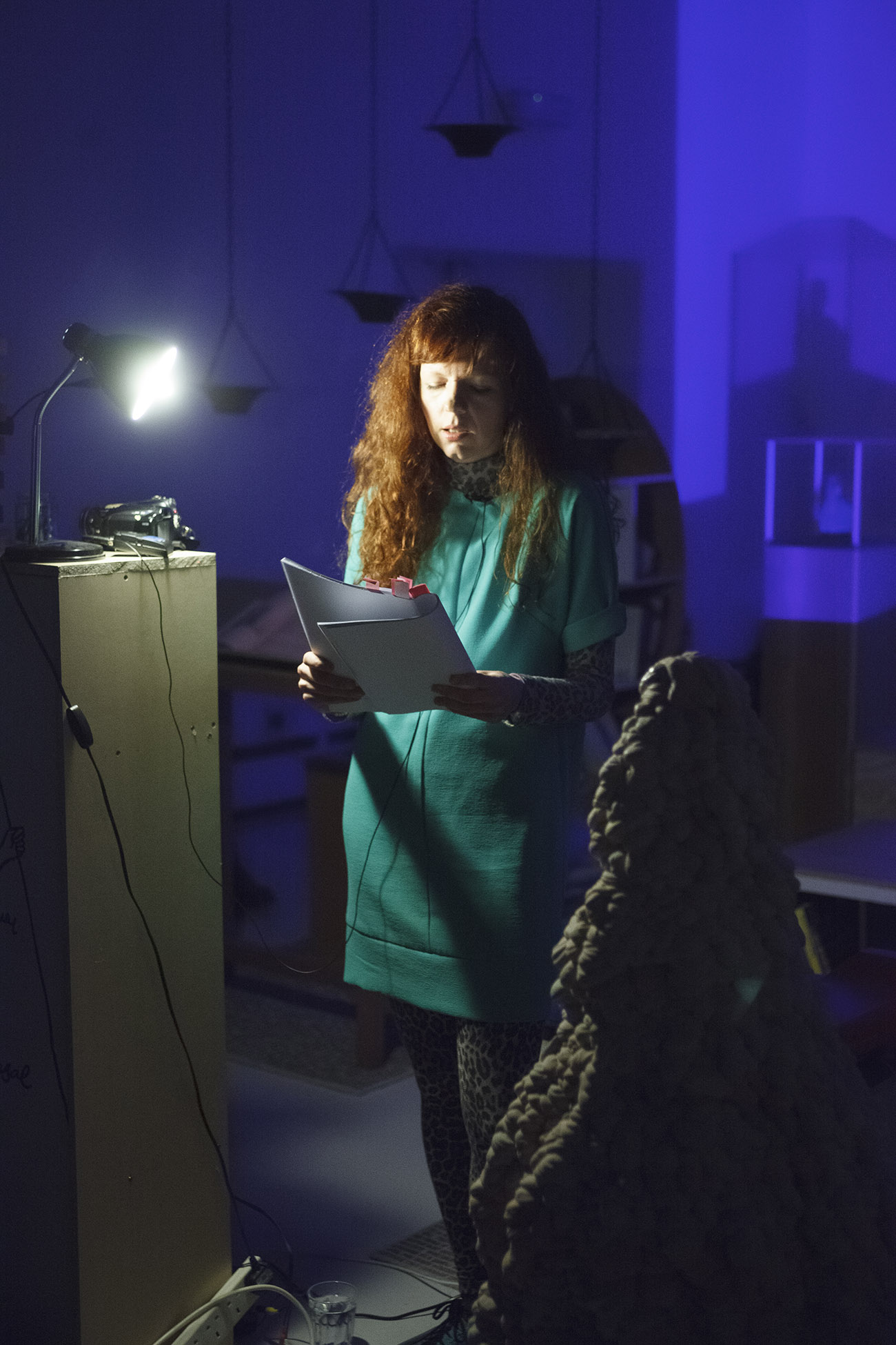Heather Philipson reading in Dan Cox Library for Unfinished Concept_Wysing_2015.jpg