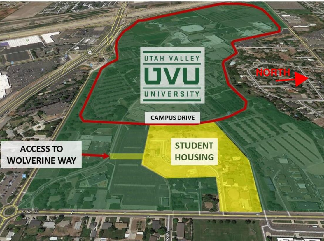 The project is almost surrounded on all four sides by UVU ground.  Learn More .