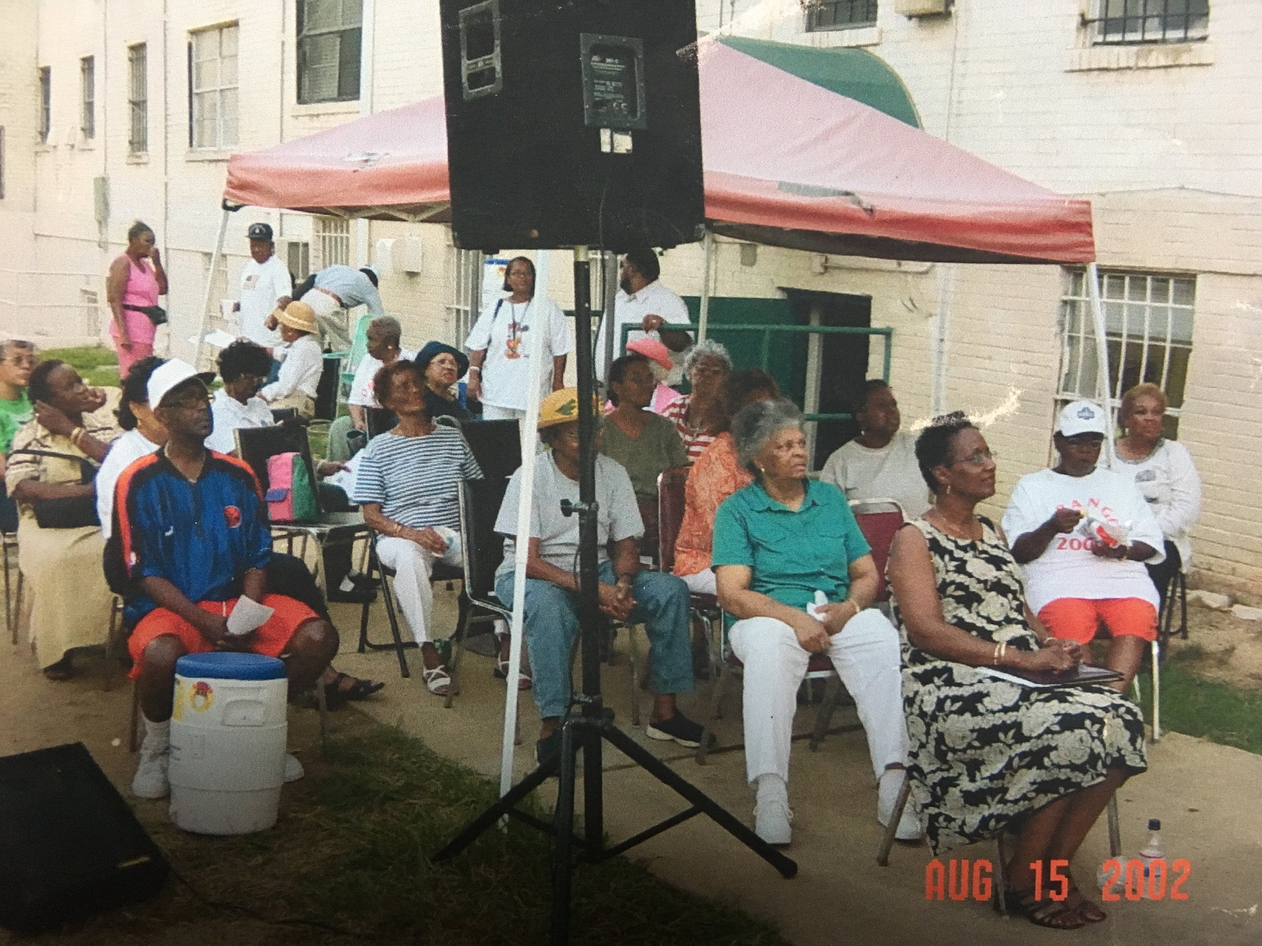 Brookland Manor/Brentwood Village Residents Association meeting outside in the community, 2002.