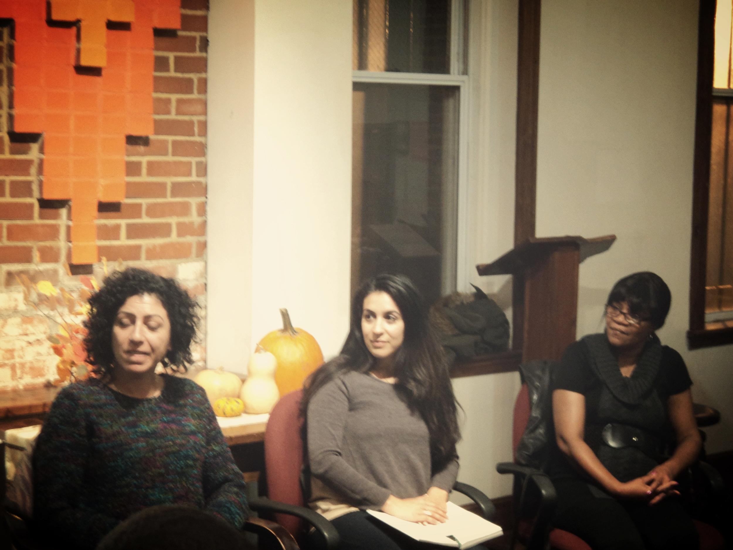 Pictured (left to right): Fayrouz Sharqawi, Advocacy Coordinator at the organization Grassroots Jerusalem; Yasmina Mrabet, DC Housing Organizer: Cheryl Brunson, Tenant Leader at Brookland Manor. Photo source: ONE DC