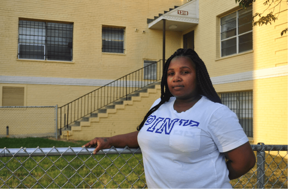 Pictured: Adriann Borum, tenant at Brookland Manor. Photo source: The Hilltop