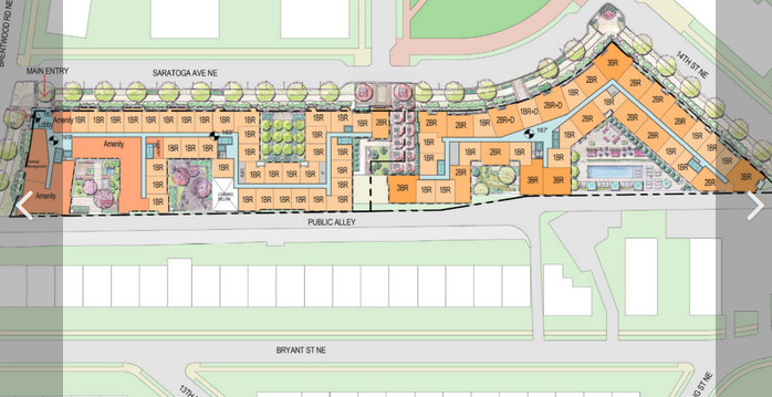 The redeveloped project would eliminate all 4 and 5 bedroom units and a significant number of 3 bedroom units. It would additionally reduce the overall number of affordable units. Photo from Washington Business Journal website