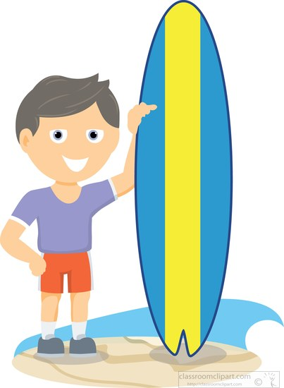 surfer standing next to surfboard at beach