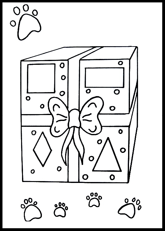 Harry Pierre loves using his imagination!  Use yours and color the gift!  How many paw prints are there?