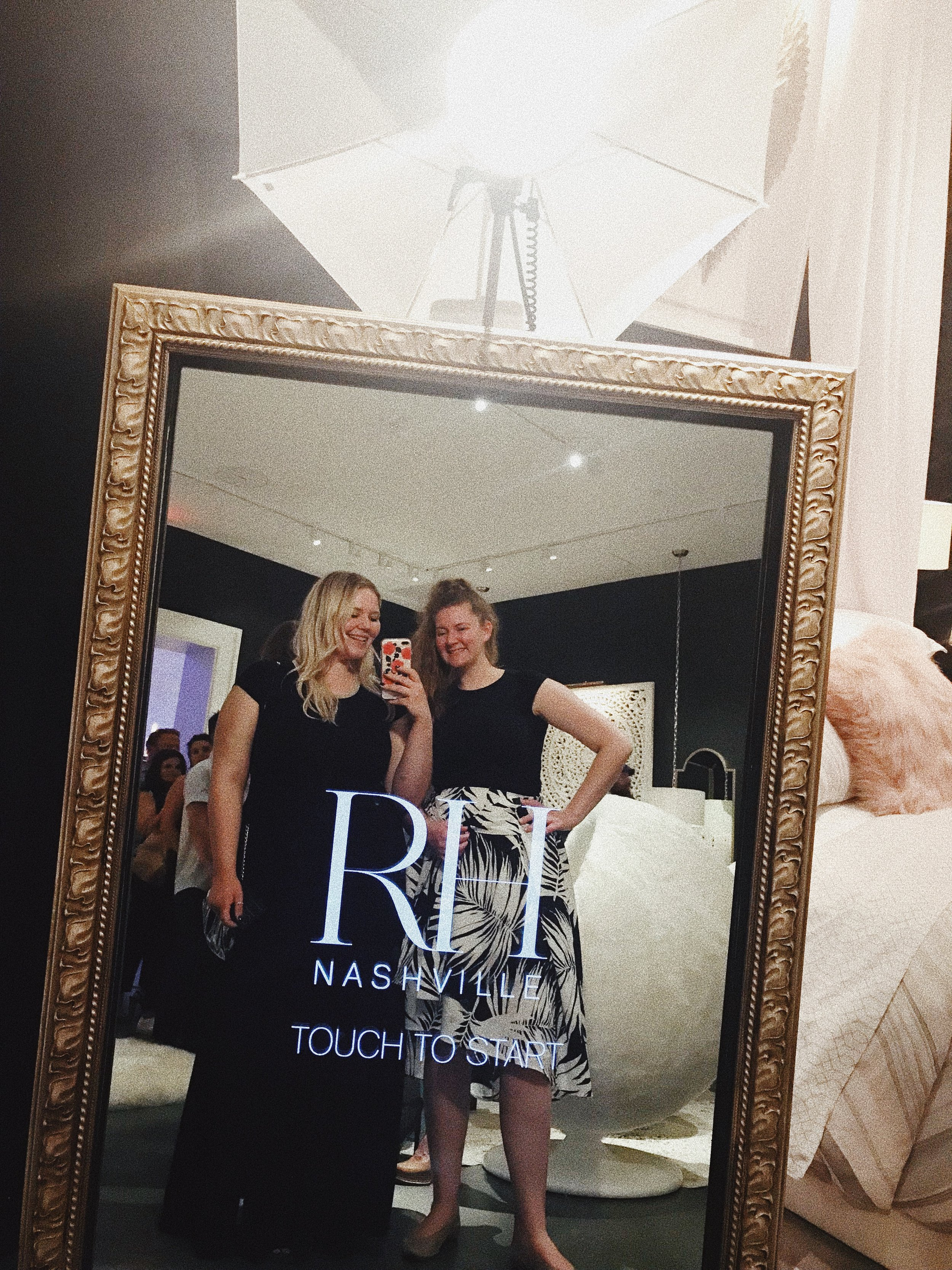 My sister, Kourtney, and I attended the event and mingled with Nashville's creatives, entrepreneurs, and industry professionals. The new RH space is SO beautiful and feels more luxurious than other Nashville hotspots. The four-story building offered a signature drink on each floor, a candy bar, and a Photo Booth. Everywhere you turned, there was something magical to see!