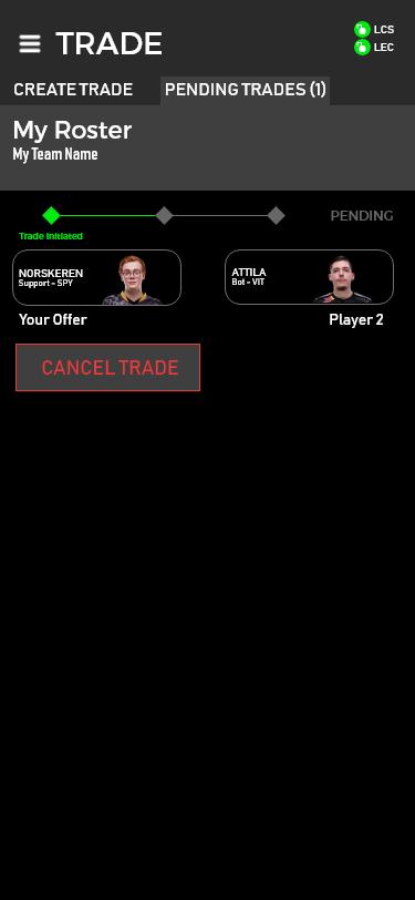 Trade initiated