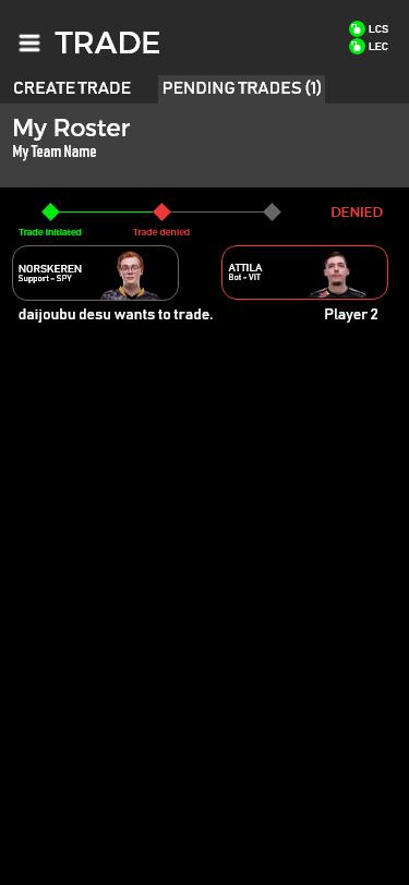 Trade denied