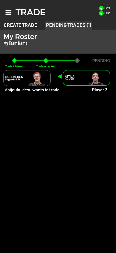 Trade accepted
