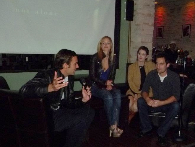 Fox 11 LA's Elex Michaelson leads QA with the cast and crew during our private screening