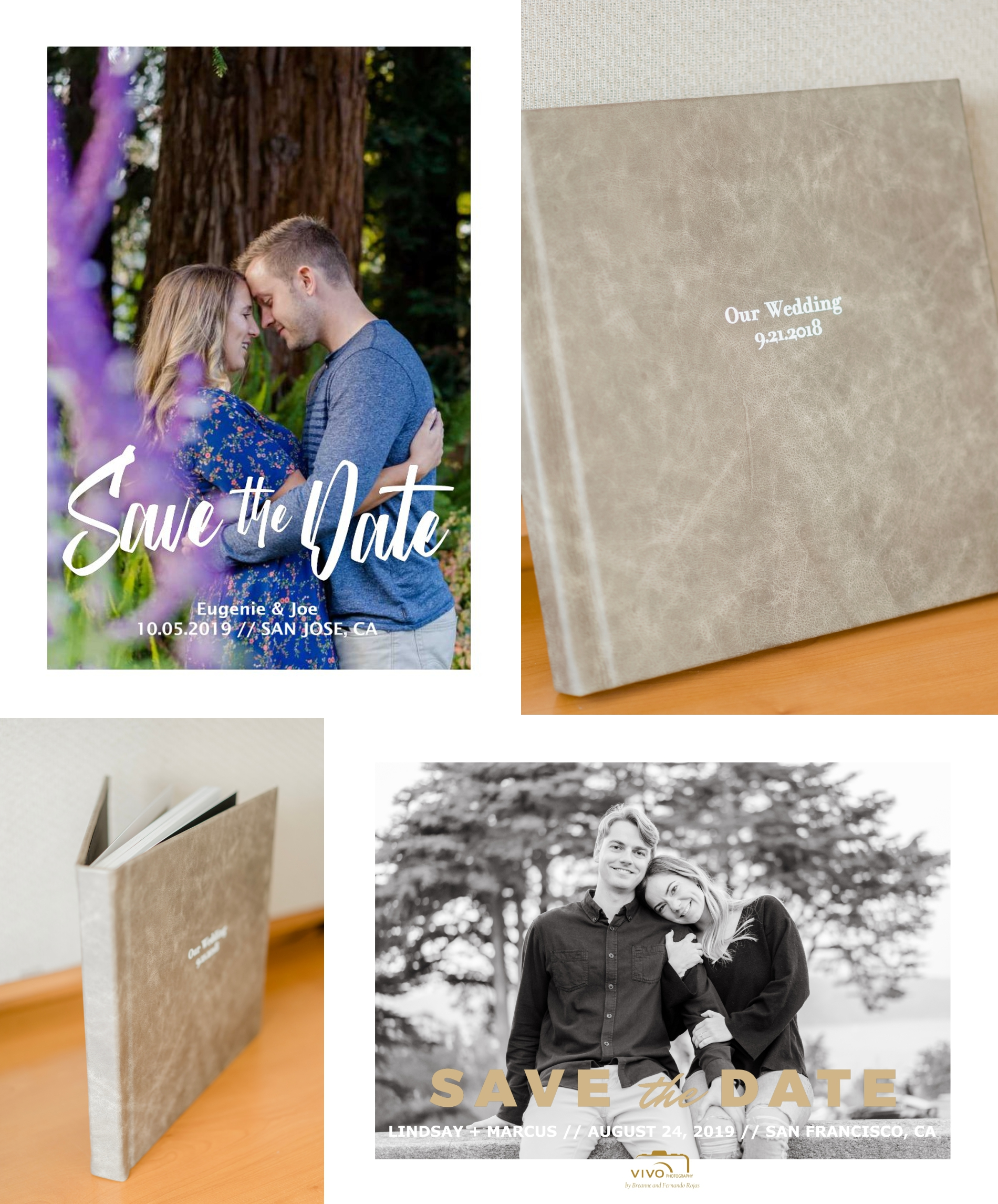 Vivo Photography Herloom wedding albums and custom designed save the date cards made from engagement photos