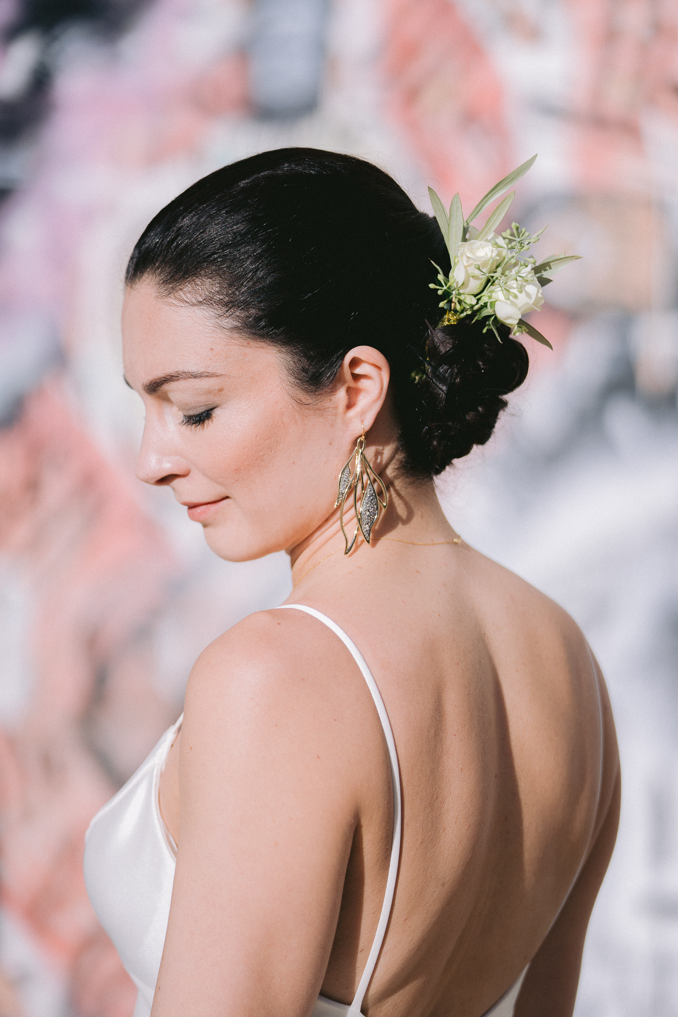 fine art bride portrait in front of grafitti wall in san francisco