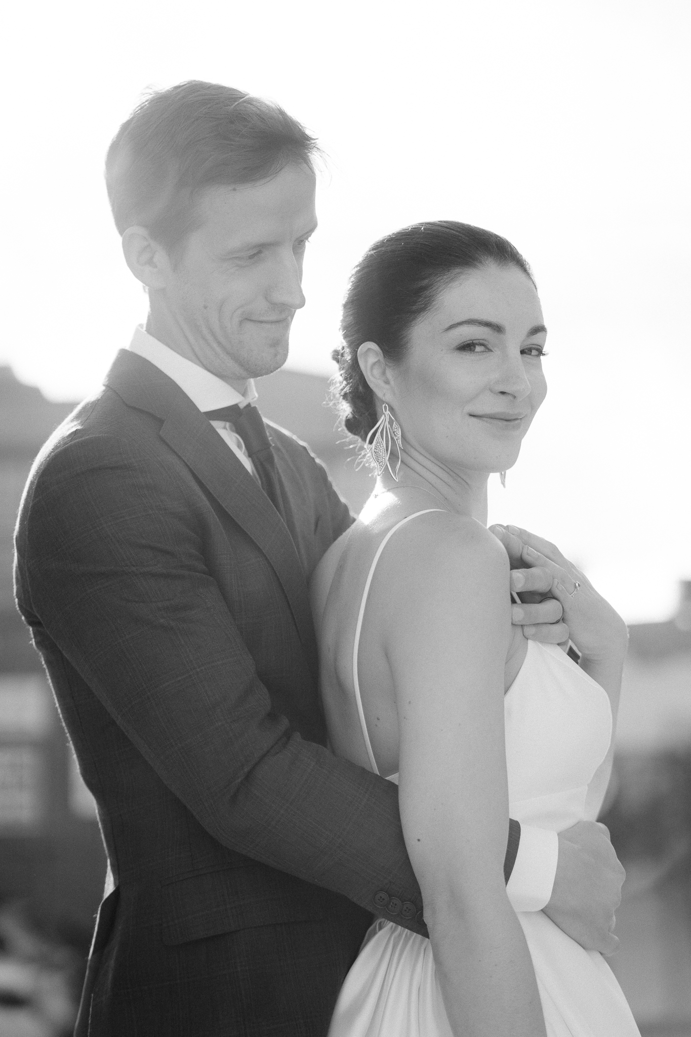 black and white bride and groom portrait at urban san Francisco wedding