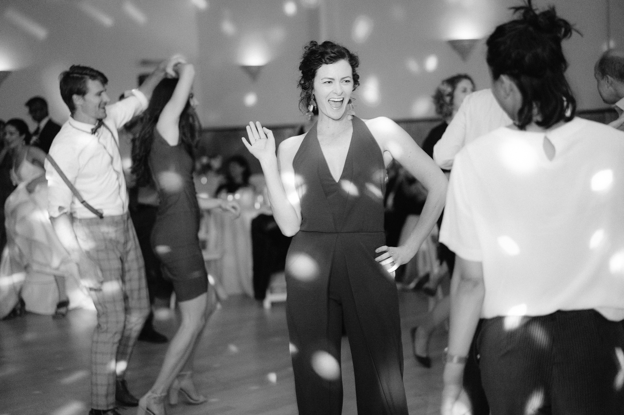 wedding guests having a great time dancing at the verdi club in san francisco