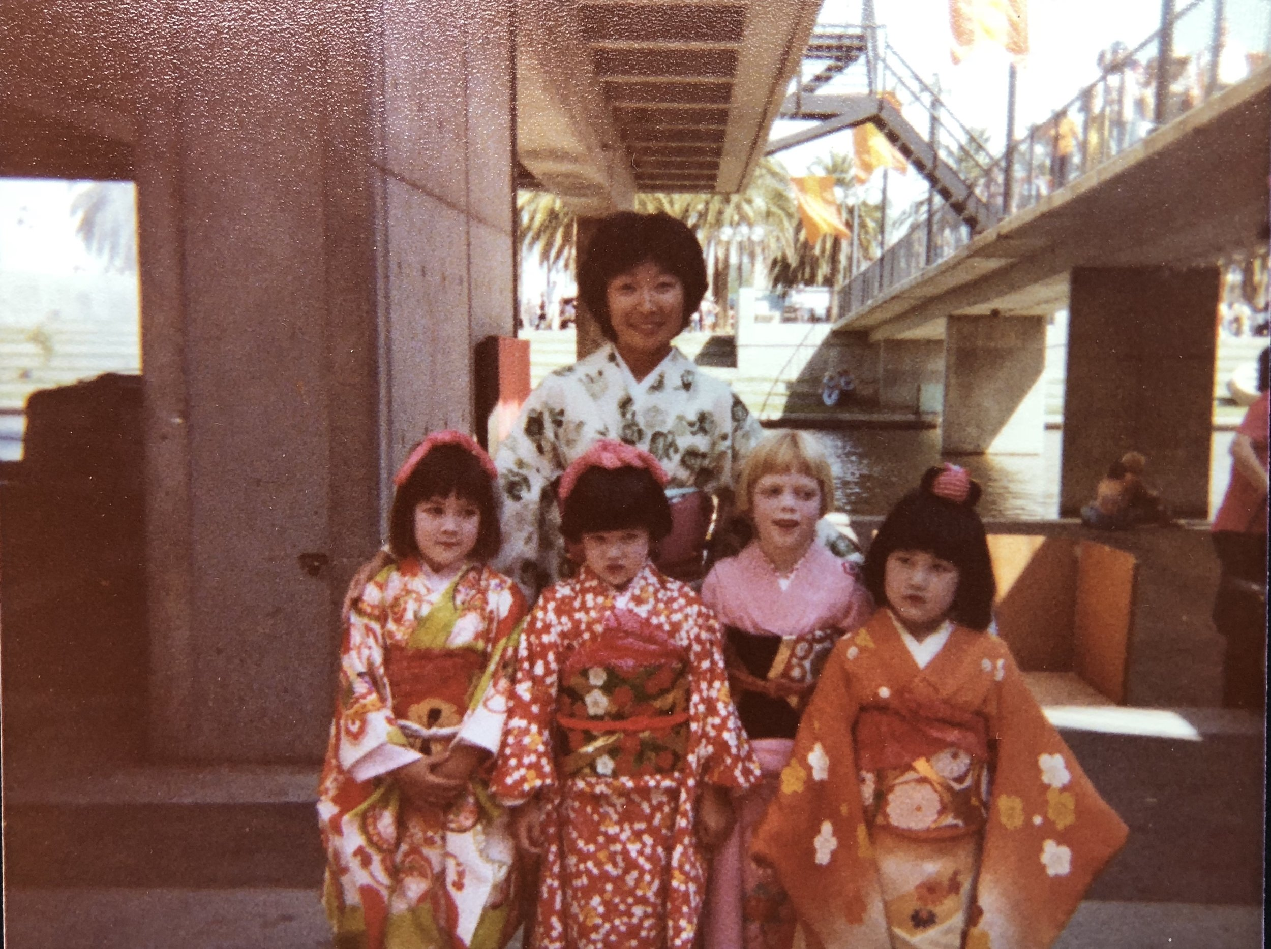 A very small sampling of the countless kimonos lost: my mother and I are standing center. Hanayagi Juteika Kai, San Francisco Cherry Blossom Festival, Spring 1978.
