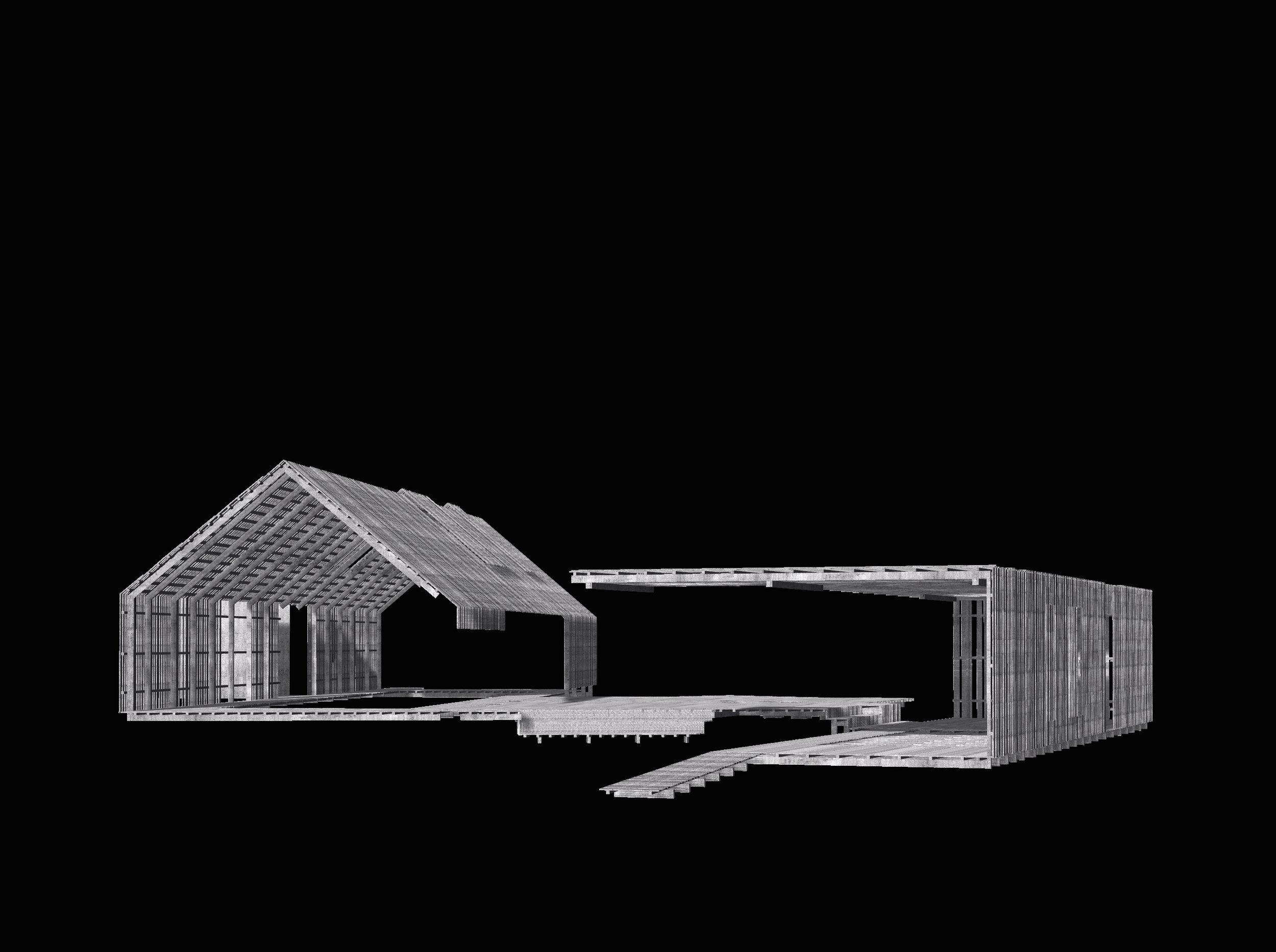 Koncept: tag folder ned og bliver til facade, der foldes hen og bliver til terrasse der folder op og bliver til facade og tag.