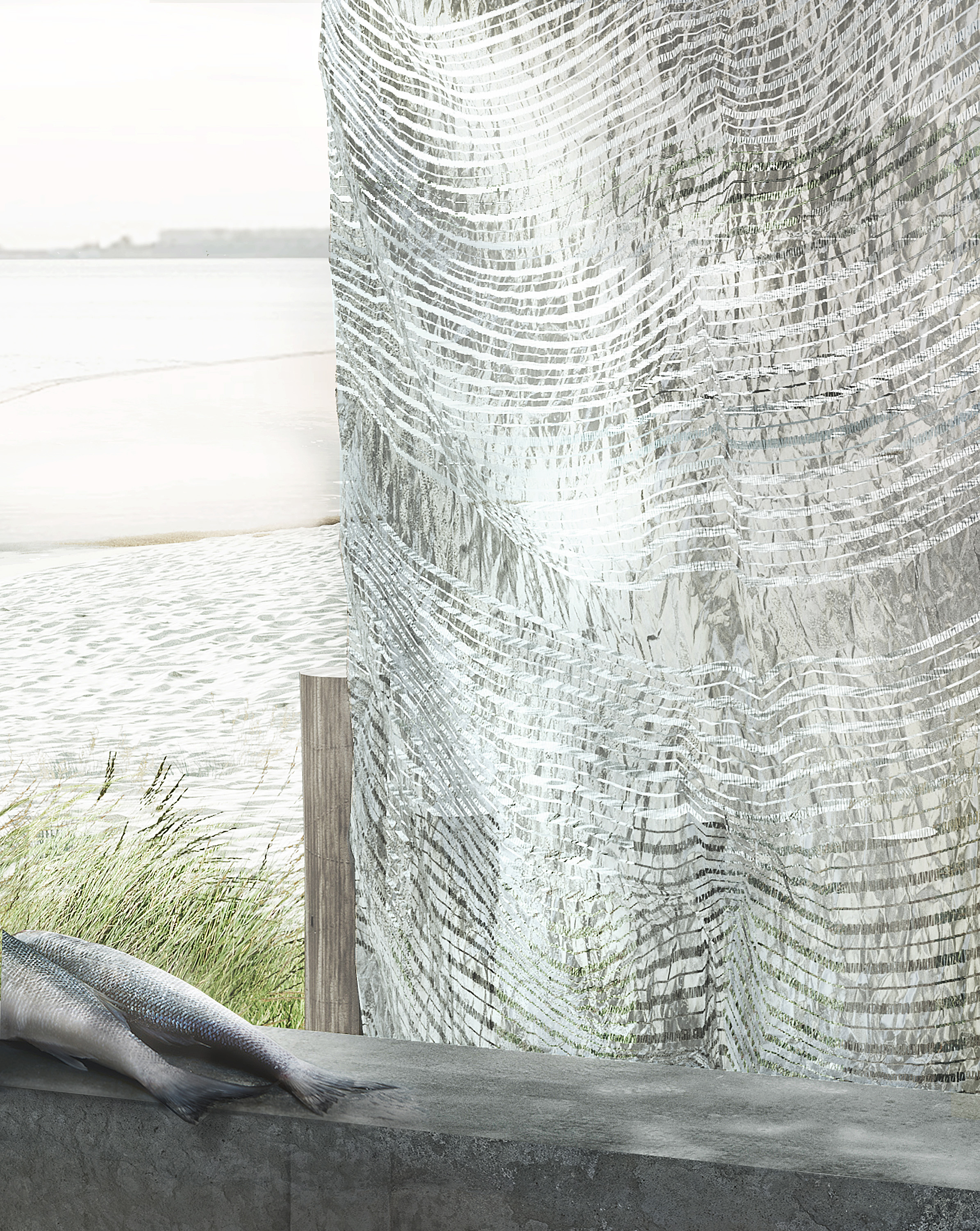 The design of the fish inspired textile is design in collaboration CITA, KADK and supported be the Dreyer Fondation