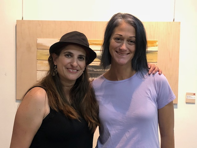 The artist, Andrea Guskin (left) and friend.