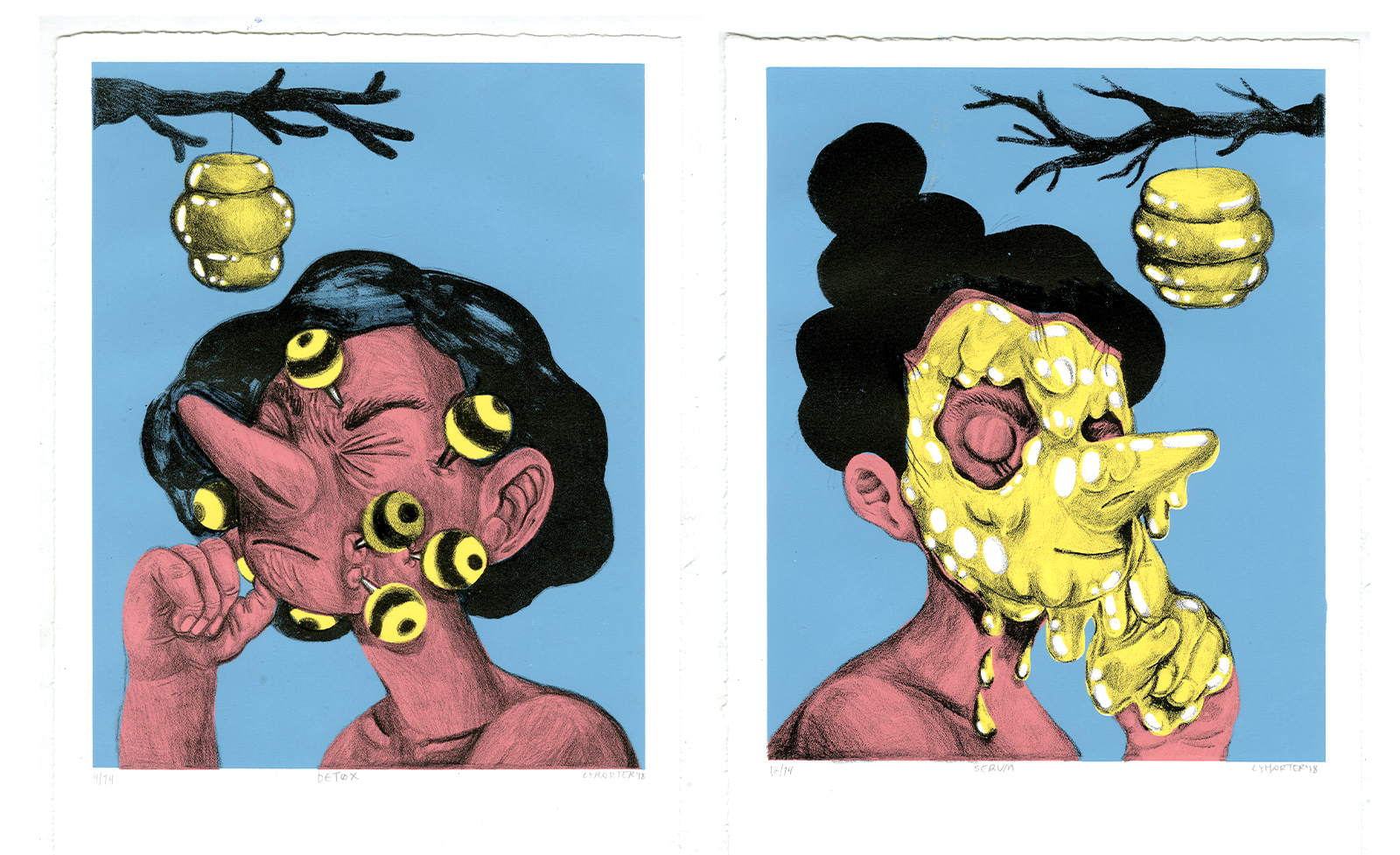 Serum & Detox,  diptych, screenprint and stone lithography (2018)