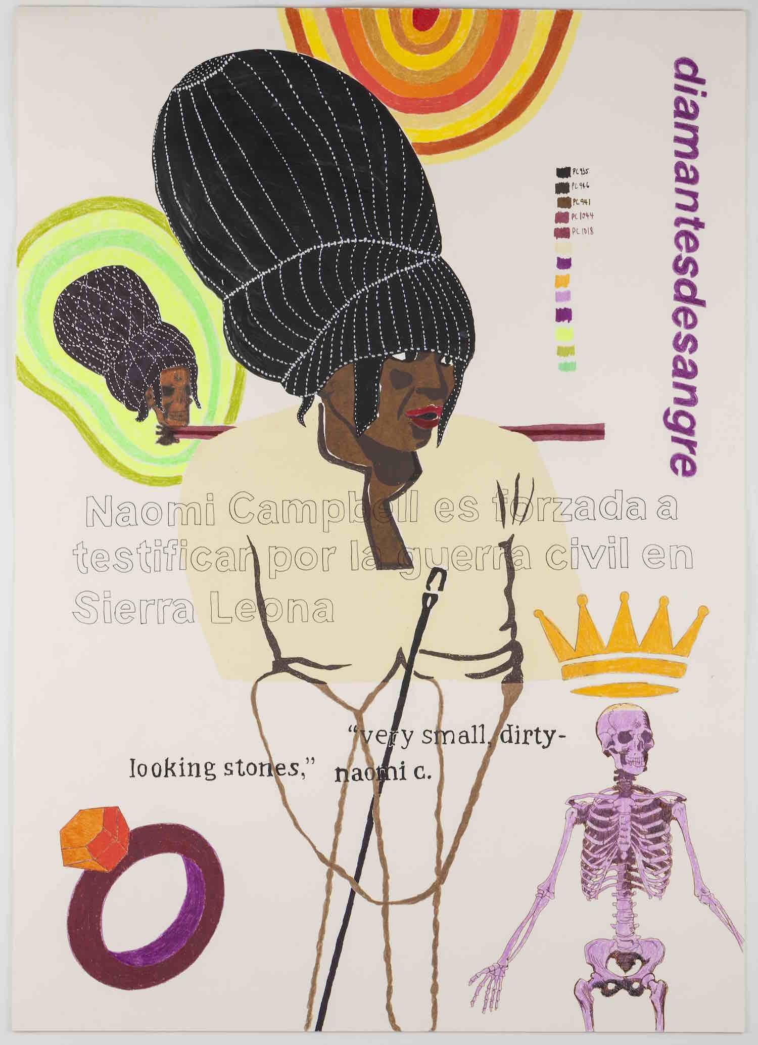"""Naomi   La supermodelo Naomi Campbell, fue llamada y forzada a testificar en la corte de Halle, en contra de Charles Taylor, antiguo presidente de Liberia, África. Su testimonio, contribuyo a juzgar al presidente Taylor por sus nexos con el mercado negro de diamantes, llamados """"Diamantes de sangre"""", en el vecino país de Sierra León. Esta serie ilustra como una crisis política puede ser """"glamourizada"""" cuando una estrella del modelaje resulta involucrada indirectamente dentro del conflicto.    Serigrafía, grafito y lápiz de color, 70 x 50 cm. 2013"""