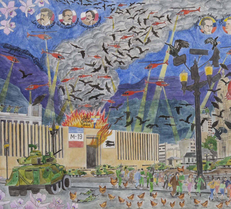 Toma del Palacio de Justicia   Asalto perpetrado el miércoles 6 de noviembre de 1985 por un comando de guerrilleros del Movimiento 19 de abril (M-19) a la sede del Palacio de Justicia. El M-19 mantuvo a cerca de 350 rehenes. Dicha incursión fue seguida de la reacción de la policía nacional y el ejército colombiano, rodeando el edificio e iniciando una operación de retoma del mismo que se extendió hasta el jueves 7 de noviembre de 1985. Los hechos culminaron 27 horas después, dejando un saldo de 98 muertos, entre ellos 11 magistrados. Once personas más también fueron consideradas como desaparecidas  Detalle