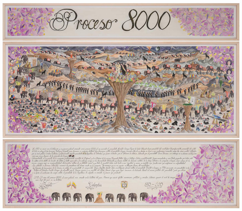 Proceso 8000   Técnica mixta sobre papel 174 x 204 cm. 2015