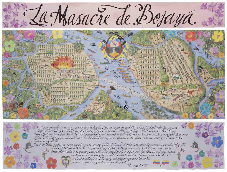 La Masacre de Bojayá   Técnica mixta sobre papel 175 x 204 cm.201