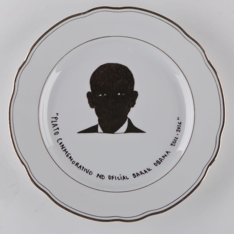 """""""Plato conmemorativo""""   Esmalte sobre plato antiguo 25 cm diámetro. 2012"""