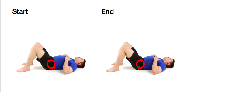 Lie on your back with your knees bent. Activate your lower abdominals (transverse abdominis) by bringing your belly button inward and by activating your pelvic floor muscles 20 to 30% of maximal contraction. Maintain steady abdominal breathing while tilting your pelvis and flattening your back to the ground.