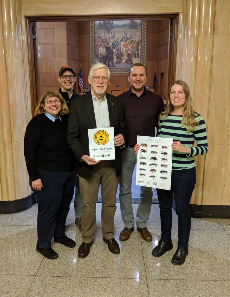 Members of the Oregon Bee Project Coordinating Committee alongside Representative Reardon at the Oregon State Capitol. From left to right: Rose Kachadoorian, ODA, Andony Melathopoulos, OSU, Representative Jeff Reardon, District 48, Clint Burfitt, ODA, and Christine Buhl, ODF.