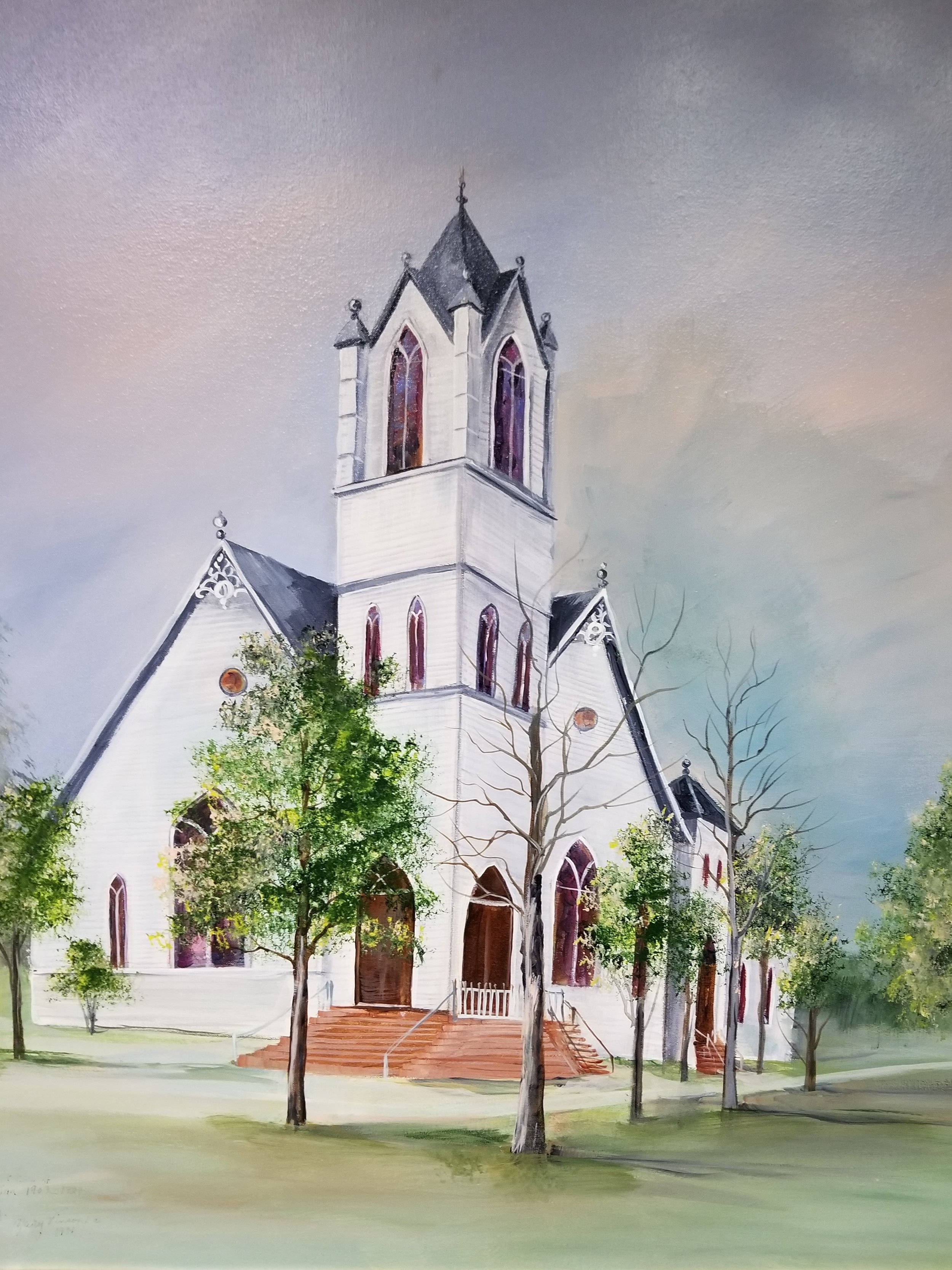 Painting of Original First Baptist Church Building,by Marie Vinson