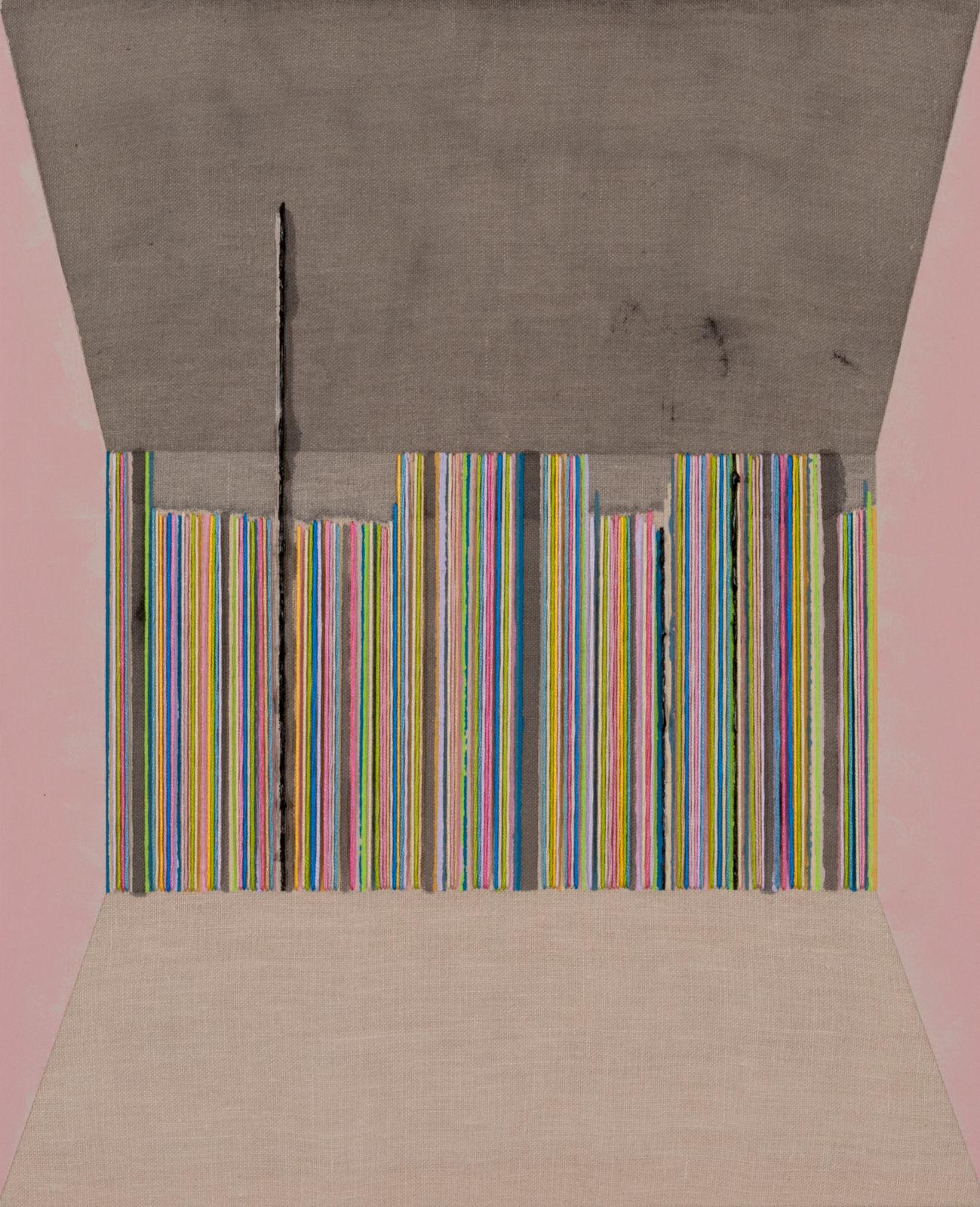 7 - LINE UP! 2, 2014 17x14  Flashe, ink, acrylic and embroidery floss on linen.jpg