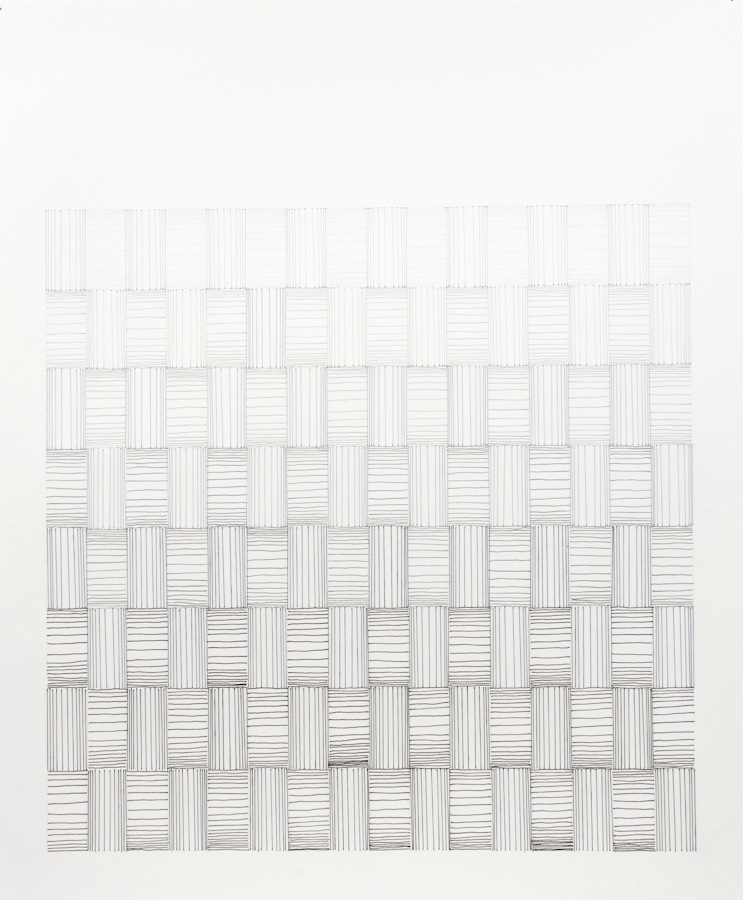 #57 (weave 2 - shades of grey) 2011, Thread, pencil, paper, 17x14.jpg