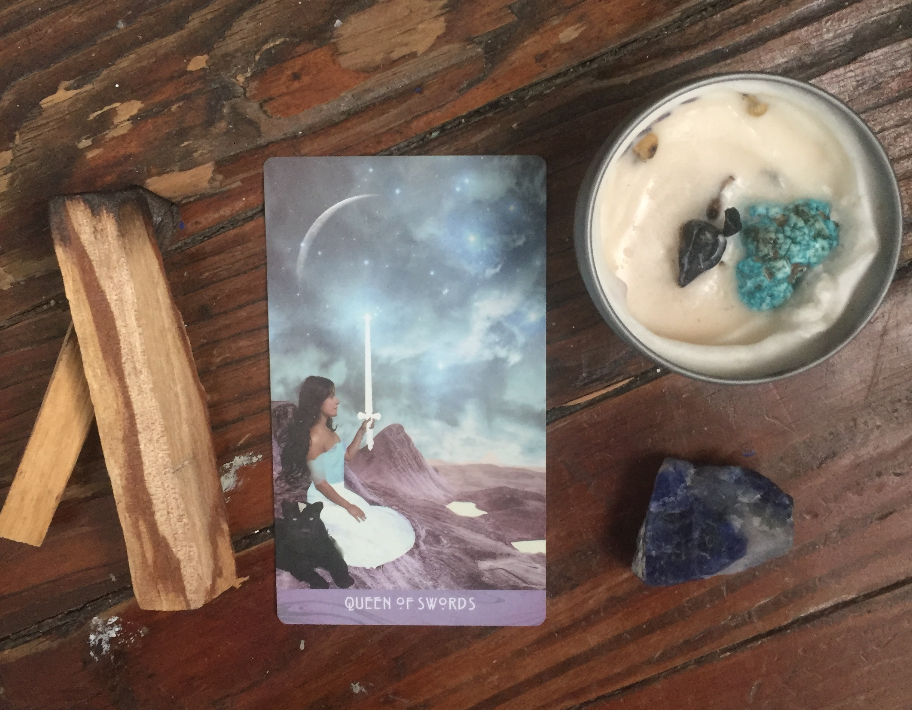 Queen of Swords, Tarot Medicine, Sodalite Crystal Healing, How to Open Your Throat Chakra, Starchild Tarot, Cottagewicks candle, Palo Santo
