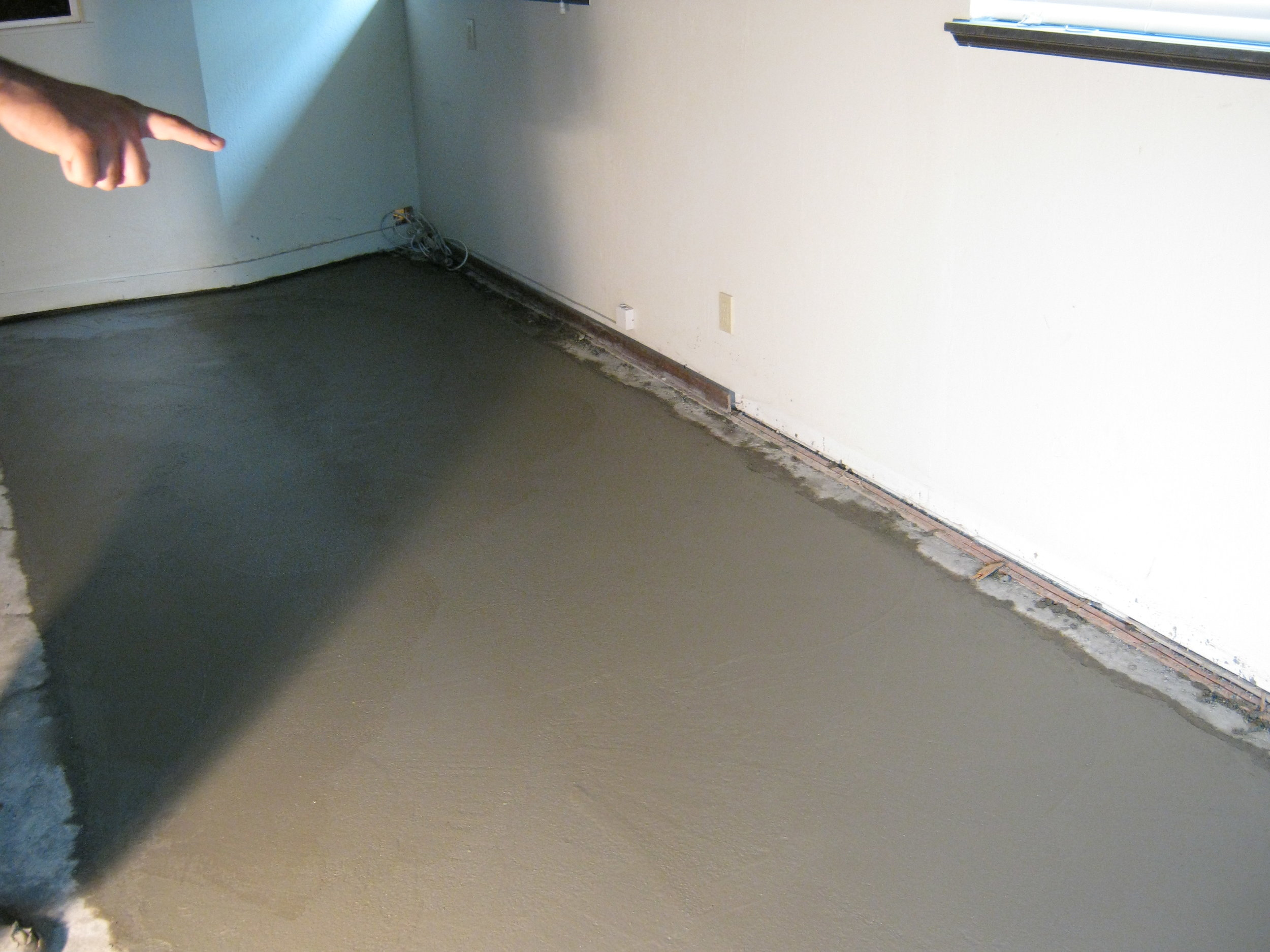 Freshly poured slab - partially replaced