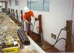 - Valentine's Perma Jack crews install multiple Perma Jacks to stabilize a settling grade beam foundation of a Fremont commercial building. Notice the minimal construction disturbance to the owner & occupants.
